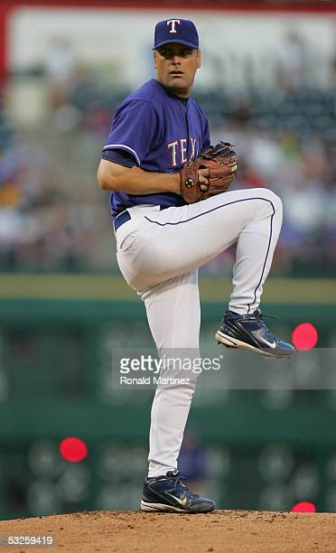 Pitcher Kenny Rogers of the Texas Rangers delivers a pitch against the Oakland Athletics on September 22, 2004 at Ameriquest Field in Arlington in...