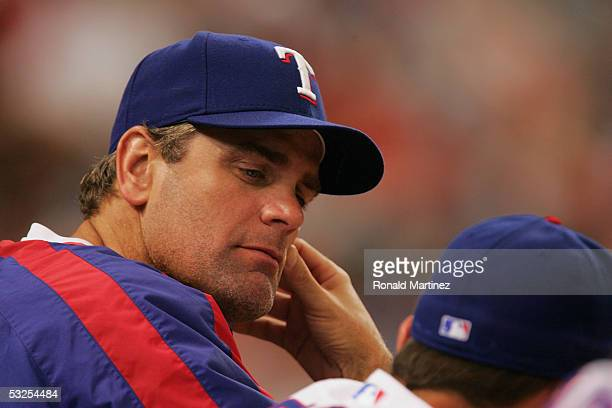 Pitcher Kenny Rogers of the Texas Rangers looks on during a game against the New York Yankees on July 18, 2005 at Ameriquest Field in Arlington in...