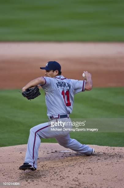 Pitcher Kenshin Kawakami of the Atlanta Braves pitches during a MLB game against the Florida Marlins in Sun Life Stadium on May 25 2010 in Miami...