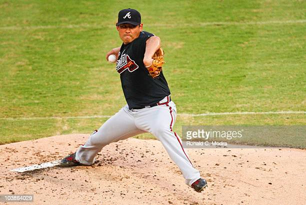 Pitcher Kenshin Kawakami of the Atlanta Braves pitches during a MLB game against the Florida Marlins at Sun Life Stadium on September 3 2010 in Miami...