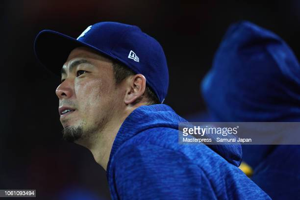 Pitcher Kenta Maeda of the Los Angeles Dodgers is seen in the top of 8th inning the game four between Japan and MLB All Stars at Mazda Zoom Zoom...