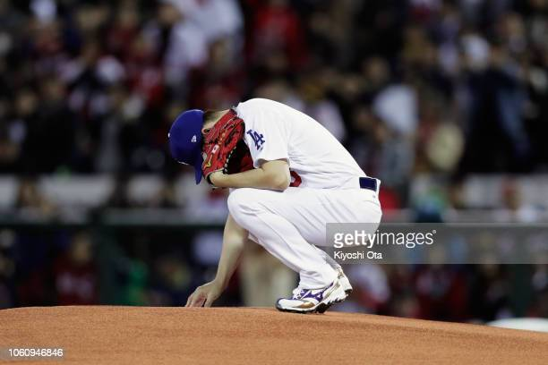 Pitcher Kenta Maeda of the Los Angeles Dodgers is seen prior to the game four between Japan and MLB All Stars at Mazda Zoom Zoom Stadium Hiroshima on...