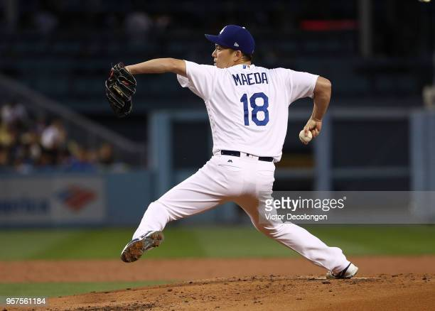 Pitcher Kenta Maeda of the Los Angeles Dodgers pitches in the second inning during the MLB game against the Cincinnati Reds at Dodger Stadium on May...