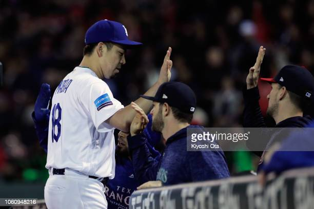 Pitcher Kenta Maeda of the Los Angeles Dodgers reacts after the top of 2nd inning during the game four between Japan and MLB All Stars at Mazda Zoom...