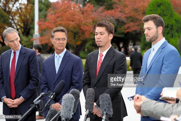 Pitcher Kenta Maeda of the Los Angeles Dodgers speaks to media reporters after offering a wreath at the cenotaph at the Hiroshima Peace Memorial Park...