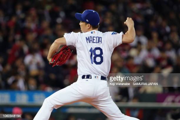 Pitcher Kenta Maeda of the Los Angeles Dodgers throws in the top of 2nd inning during the game four between Japan and MLB All Stars at Mazda Zoom...