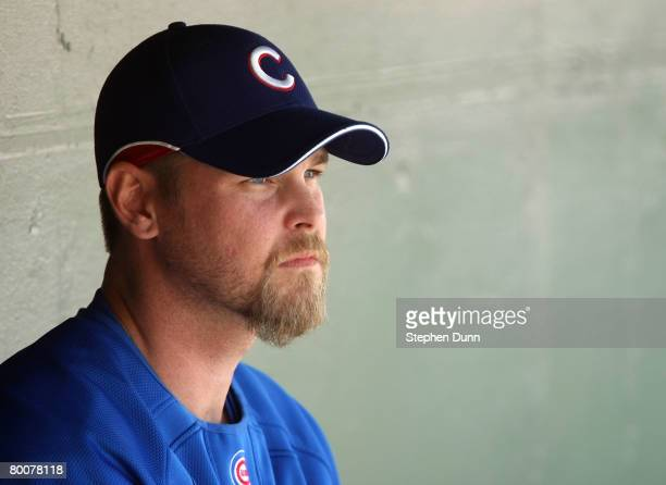 Pitcher Kerry Wood of the Chicago Cubs sits in the dugout before the game with the Los Angels of Anaheim on March 1 2008 at Tempe Diablo Stadium in...