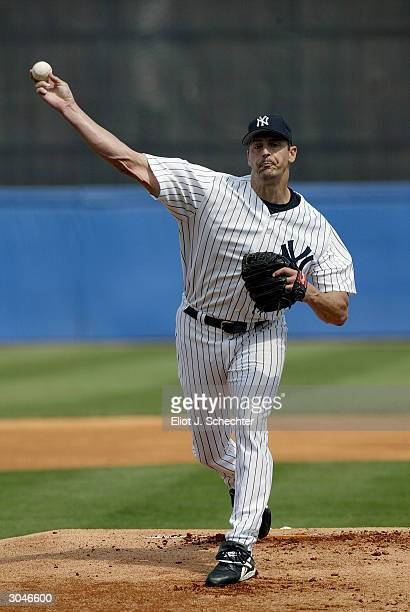 Pitcher Kevin Brown of the New York Yankees on the mound against the Philadelphia Phillies during Spring Training March 5 2004 at Legends Field in...