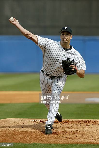 Pitcher Kevin Brown of the New York Yankees pitches during the Spring Training game against the Philadelphia Phillies on March 5 2004 at Legends...
