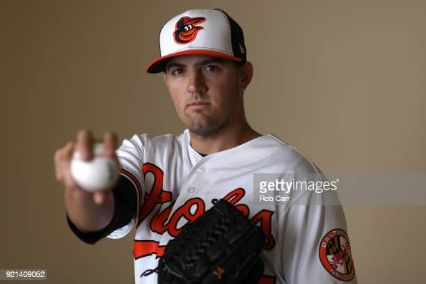 Pitcher Kevin Gausman of the Baltimore Orioles poses for a photo during photo days at Ed Smith Stadium on February 20 2018 in Sarasota FL