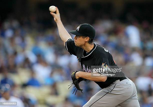 Pitcher Kevin Slowey of the Miami Marlins pitches against the Los Angeles Dodgers during the MLB game at Dodger Stadium on May 11 2013 in Los Angeles...