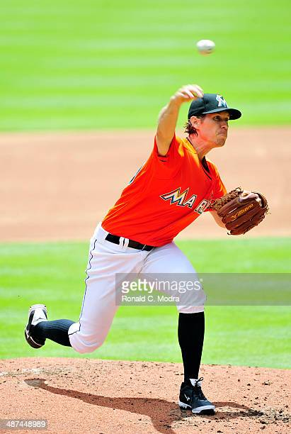 Pitcher Kevin Slowey of the Miami Marlins pitches during a game against the Seattle Mariners at Marlins Park on April 20 2014 in Miami Florida
