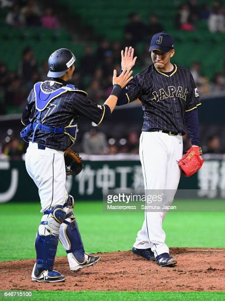 Pitcher Kohdai Senga and Catcher Shota Ohno of Japan celebrate their win after the SAMURAI JAPAN Sendoff Friendly Match between CPBL Selected Team...