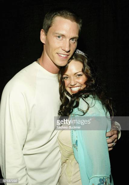 Pitcher Kris Benson and wife Anna Benson attend her birthday bash and Lingerie Bowl Party at Shelter on February 4 2005 in Los Angeles California