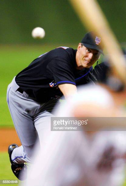 Pitcher Kris Benson of the New York Mets throws against the Houston Astros on July 29 2005 at Minute Maid Park in Houston Texas