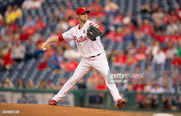 Pitcher Kyle Kendrick of the Philadelphia Phillies throws a pitch against the Pittsburgh Pirates in the top of the first inning on September 8 2014...