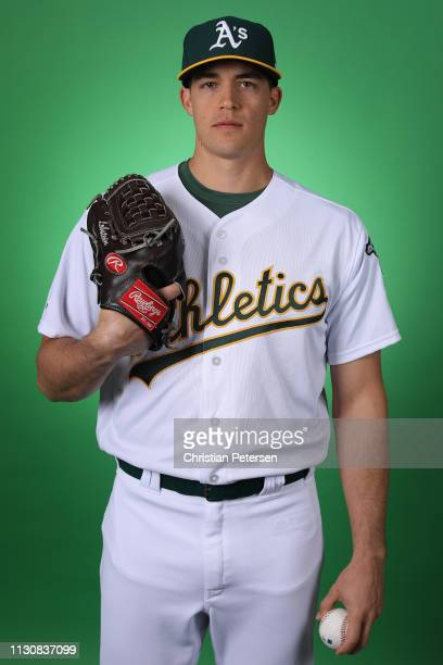 Pitcher Kyle Lobstein of the Oakland Athletics poses for a portrait during photo day at HoHoKam Stadium on February 19 2019 in Mesa Arizona