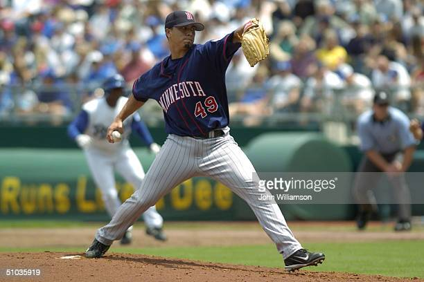 Pitcher Kyle Lohse of the Minnesota Twins delivers against the Kansas City Royals during the game at Kauffman Stadium on May 30 2004 in Kansas City...