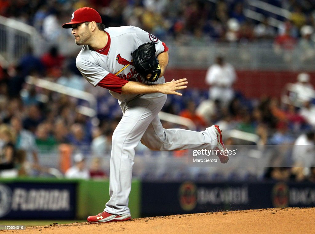 Pitcher Lance Lynn #31 of the St. Louis Cardinals throws against the Miami Marlins during the first inning at Marlins Park on June 15, 2013 in Miami, Florida.