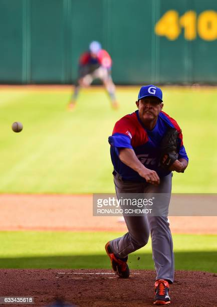 Pitcher Lazaro Blanco of Alazanes de Granma of Cuba throws against Tigres de Licey of the Dominican Republic during the Caribbean Baseball Series at...