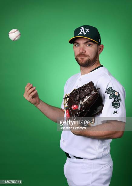 Pitcher Liam Hendriks of the Oakland Athletics poses for a portrait during photo day at HoHoKam Stadium on February 19 2019 in Mesa Arizona