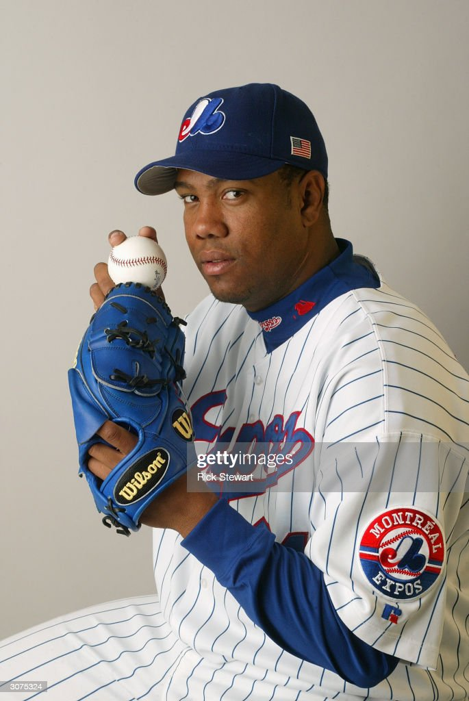 Pitcher Livan Hernandez #61 of the Montreal Expos poses for a photo during Media Day at Space Coast Stadium on February 28, 2004 in Viera, Florida.