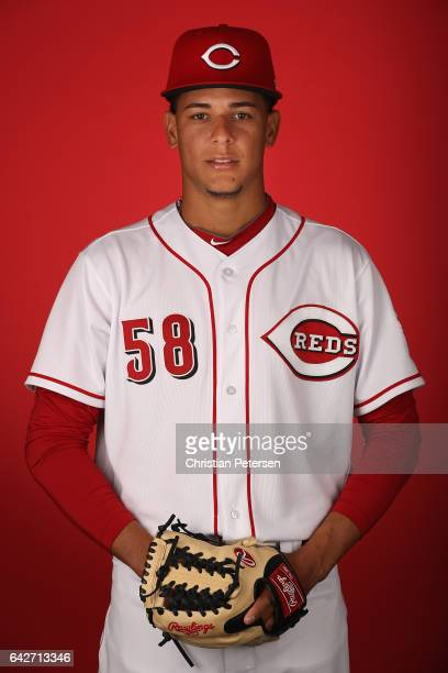 Pitcher Luis Castillo of the Cincinnati Reds poses for a portait during a MLB photo day at Goodyear Ballpark on February 18 2017 in Goodyear Arizona
