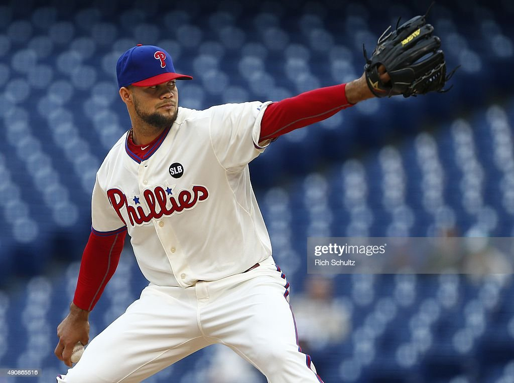 Pitcher Luis Garcia #57 of the Philadelphia Phillies delivers a pitch against the New York Mets during the ninth inning of a MLB game at Citizens Bank Park on October 1, 2015 in Philadelphia, Pennsylvania. The Phillies defeated the Mets 3-0.