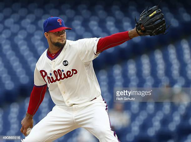 Pitcher Luis Garcia of the Philadelphia Phillies delivers a pitch against the New York Mets during the ninth inning of a MLB game at Citizens Bank...