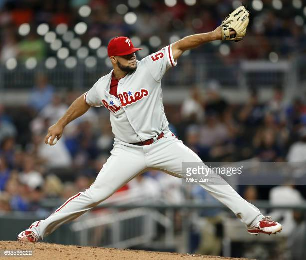 Pitcher Luis Garcia of the Philadelphia Phillies throws a pitch in the eighth inning during the game against the Atlanta Braves at SunTrust Park on...
