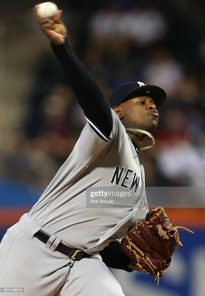 Pitcher Luis Severino #40 of the New York Yankees delivers a pitch during the first inning of a game against the New York Mets at Citi Field on June 10, 2018 in the Flushing neighborhood of the Queens borough of New York City.