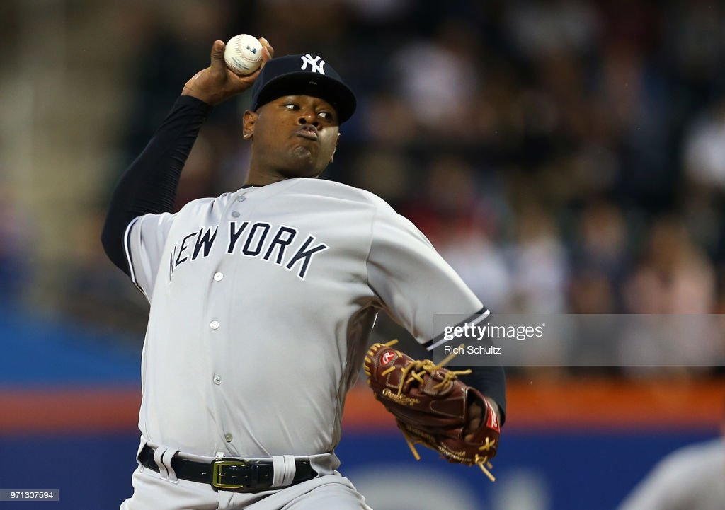 Pitcher Luis Severino #40 of the New York Yankees delivers a pitch during the first inning of a game against the New York Mets at Citi Field on June 10, 2018 in the Flushing neighborhood of the Queens borough of New York City. The Mets defeated the Yankees 2-0.