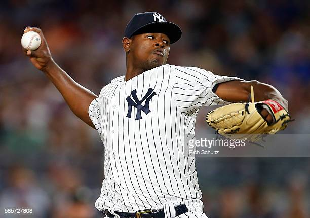 Pitcher Luis Severino of the New York Yankees delivers a pitch against the New York Mets during the fifth inning of a game at Yankee Stadium on...