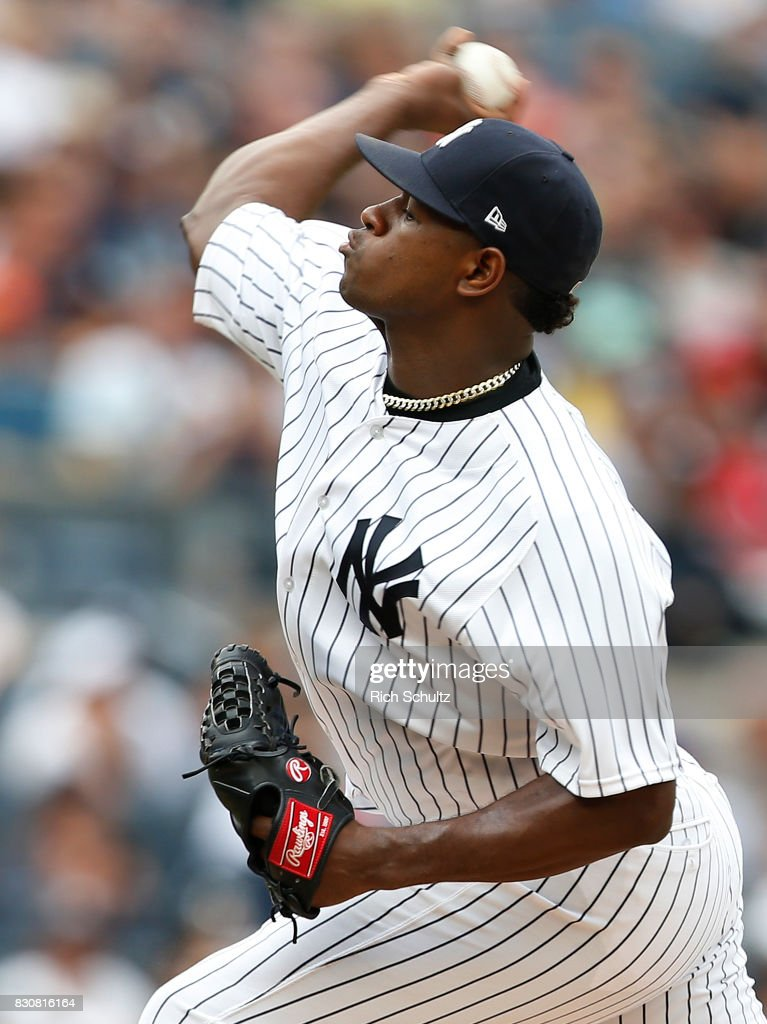 Pitcher Luis Severino #40 of the New York Yankees delivers a pitch against the Boston Red Sox during the first inning of a game at Yankee Stadium on August 12, 2017 in the Bronx borough of New York City.