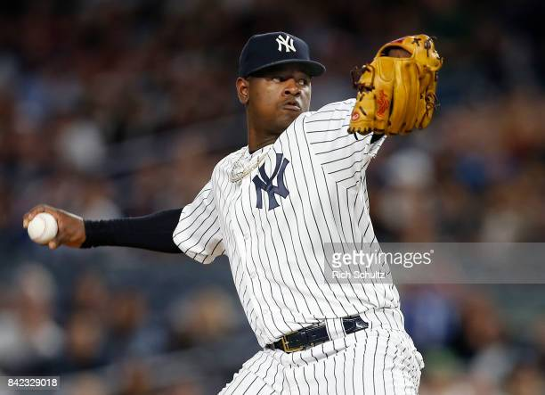 Pitcher Luis Severino of the New York Yankees delivers a pitch against the Boston Red Sox during the first inning of a game at Yankee Stadium on...