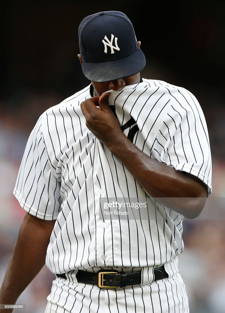 Pitcher Luis Severino #40 of the New York Yankees walks off the mound after being relieved in the fifth inning against the Boston Red Sox during a game at Yankee Stadium on August 12, 2017 in the Bronx borough of New York City.
