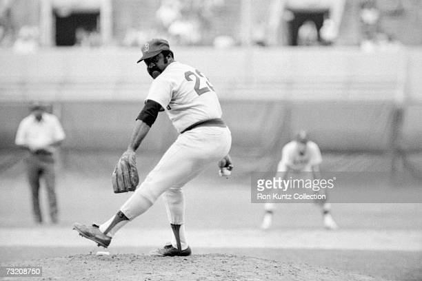 Pitcher Luis Tiant of the Boston Red Sox on the mound during a game on July 14 1977 against the Cleveland Indians at Municipal Stadium in Cleveland...