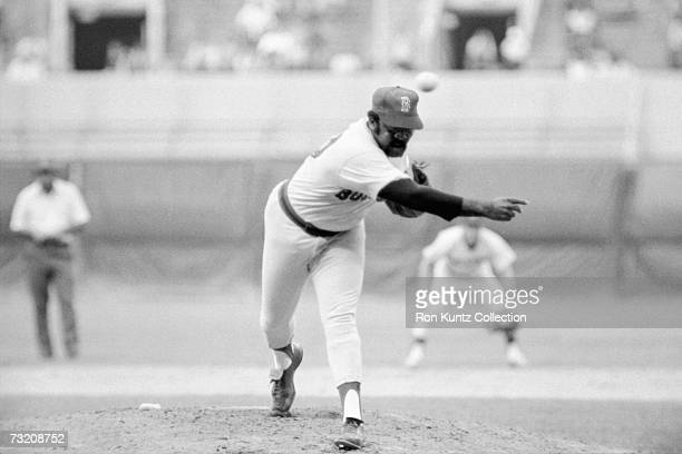 Pitcher Luis Tiant, of the Boston Red Sox, on the mound during a game on July 14, 1977 against the Cleveland Indians at Municipal Stadium in...