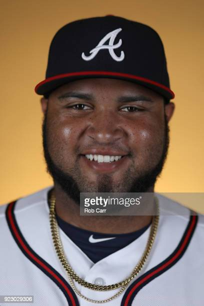 Pitcher Luiz Gohara of the Atlanta Braves poses for a photo during photo days at Champion Stadium on February 22 2018 in Lake Buena Vista Florida