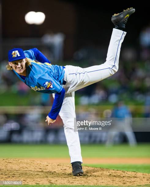 Pitcher Mack Lemeiux of the Amarillo Sod Poodles pitches during the game against the Midland RockHounds at HODGETOWN Stadium on May 22, 2021 in...