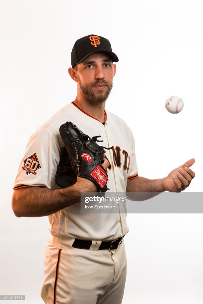 Pitcher Madison Bumgarner (40) poses for a photo during the San Francisco Giants photo day on Tuesday, Feb. 20, 2018 at Scottsdale Stadium in Scottsdale, Ariz.