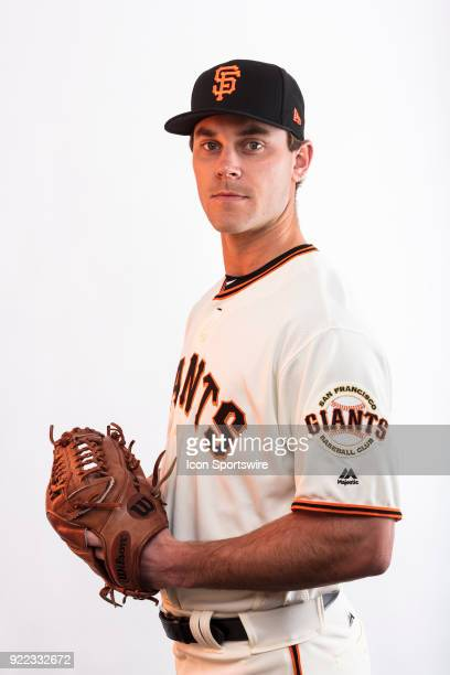 Pitcher Madison Younginmer poses for a photo during the San Francisco Giants photo day on Tuesday Feb 20 2018 at Scottsdale Stadium in Scottsdale Ariz