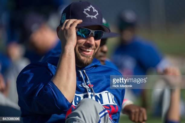 Pitcher Marco Estrada has a laugh during the warm up Toronto Blue Jays continue the preparations for the upcoming Grapefruit season at Bobby Mattick...