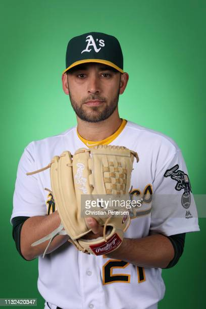 Pitcher Marco Estrada of the Oakland Athletics poses for a portrait during photo day at HoHoKam Stadium on February 19, 2019 in Mesa, Arizona.