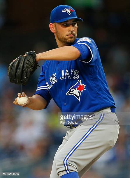 Pitcher Marco Estrada of the Toronto Blue Jays delivers a pitch against the New York Yankees during the first inning of a game at Yankee Stadium on...