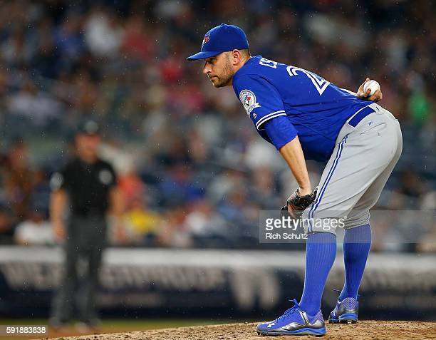 Pitcher Marco Estrada of the Toronto Blue Jays delivers a pitch against the New York Yankees during a game at Yankee Stadium on August 16 2016 in the...