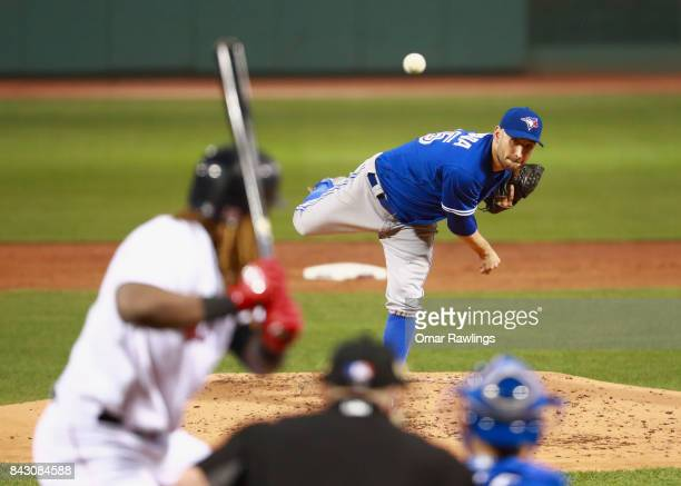 Pitcher Marco Estrada of the Toronto Blue Jays pitches at the bottom of the second inning during the game against the Boston Red Sox at Fenway Park...