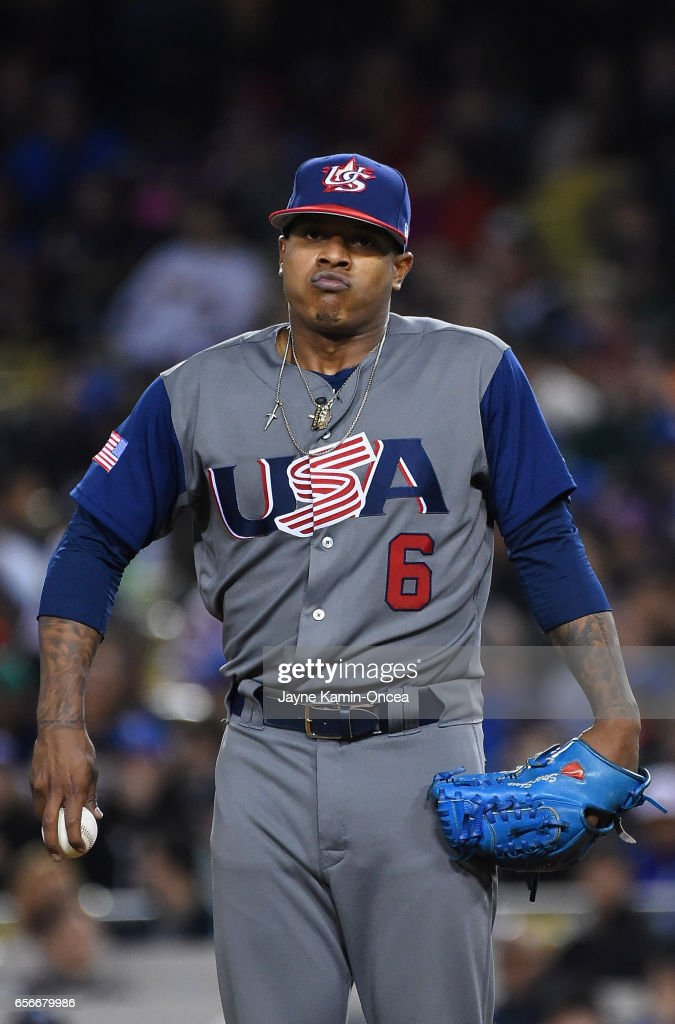 Pitcher Marcus Stroman #6 of team United States reacts in the seventh inning against team Puerto Rico during Game 3 of the Championship Round of the 2017 World Baseball Classic at Dodger Stadium on March 22, 2017 in Los Angeles, California.
