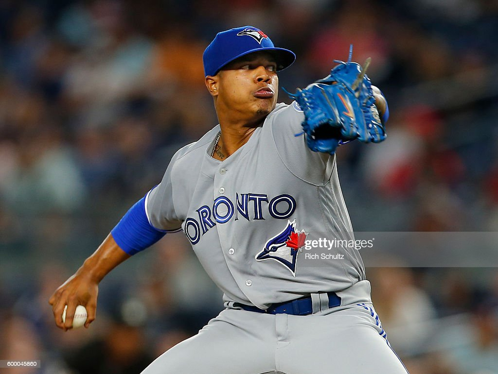 Pitcher Marcus Stroman #6 of the Toronto Blue Jays delivers a pitch against the New York Yankees during the second inning of a game at Yankee Stadium on September 7, 2016 in the Bronx borough of New York City. The Yankees defeated the Bluejays 2-0.