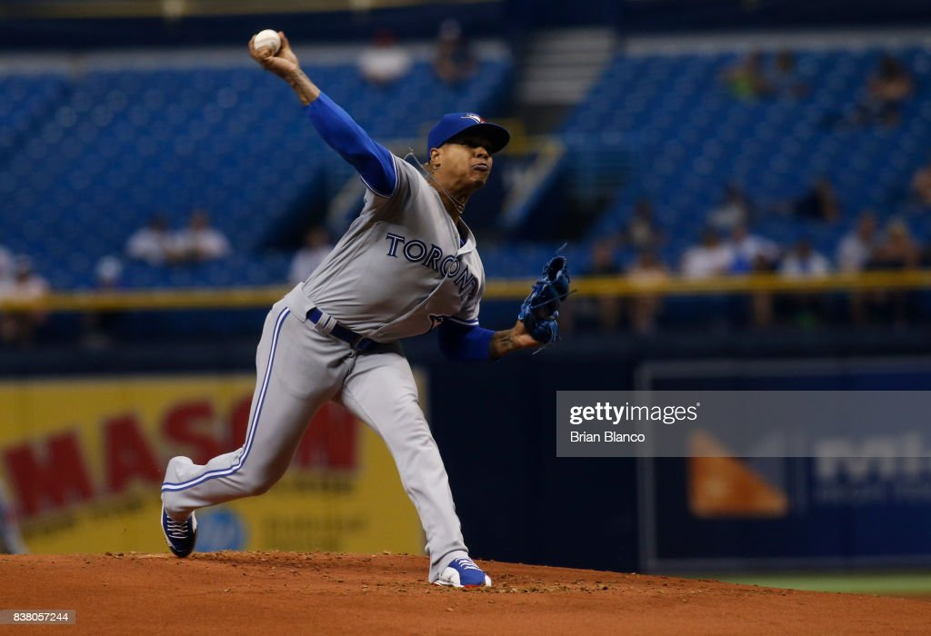 Pitcher Marcus Stroman #6 of the Toronto Blue Jays pitches during the first inning of a game against the Tampa Bay Rays on August 23, 2017 at Tropicana Field in St. Petersburg, Florida.